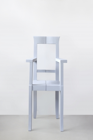 Nazgol Ansarinia, Mendings (grey chair), 2012, Wooden chair, glue, 44 x 41 x 95 cm