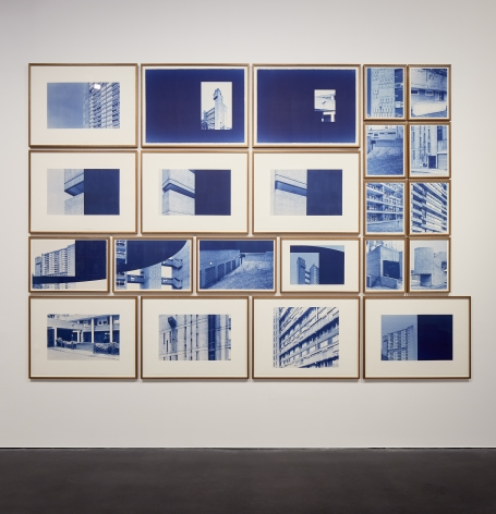 Seher Shah and Randhir Singh, Studies in Form, Brownfield Estate, 2018, Cyanotype prints on Arches Aquarelle paper