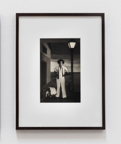 Lionel Wendt, Untitled (Man with hat, suitcase and umbrella), ca. 1930-1944, Gelatin silver print, 42.5 x 32.5 x 2.5 cm