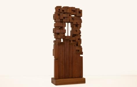 Chaouki Choukini, Improvisation, 2019, Sipo, 77 x 32 x 14 cm