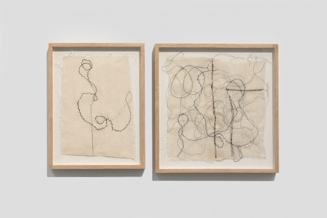 Afra Al Dhaheri, Thread as Hair Drawing No. 1 & 2, 2020