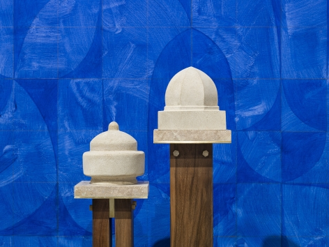Kamrooz Aram, Elegy for Blue Architecture (detail), 2020, Oil and pencil on linen, 175.25 x 213.5 x 3.75 cm