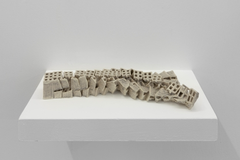 Nazgol Ansarinia,Attempts at building a wall,2019, Glazed ceramic