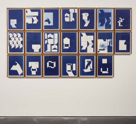 Seher Shah and Randhir Singh, Studies in Form, Hewn Blueprints, 2018, Cyanotype prints on Arches Aquarelle paper