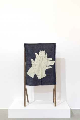 Ana Mazzei, Run Rabbit Run, My Hands, 2018, Beechwood and cambric linen, 144x 73x 38cm