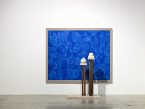 Kamrooz Aram, Elegy for Blue Architecture, 2020, Oil and pencil on linen, 175.25 x 213.5 x 3.75 cm