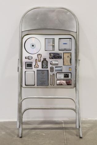 Nazgol Ansarinia, Private Assortment Series, 2011-2013, Metal Chair, 2013, Mixed media, 50 x 46 x 80 cm