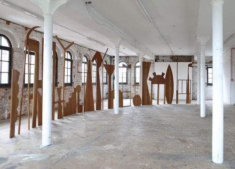 Ana Mazzei,Temple, 2020-2021, Cedar wood, varnish, steel wire and soundtrack