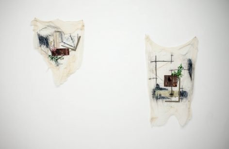 Afra Al Dhaheri, Thoughts on fabric, 2015, Encaustic, cement, charcoal, graphite, colored pencil on stiffened cheesecloth