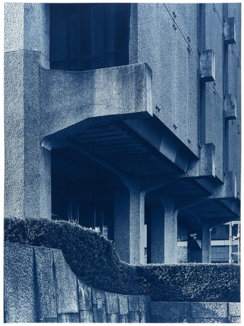 Seher Shah and Randhir Singh, Studies in Form, Dentsu Head Office (detail), 2018, Cyanotype prints on Arches Aquarelle Paper, 38x 28cm
