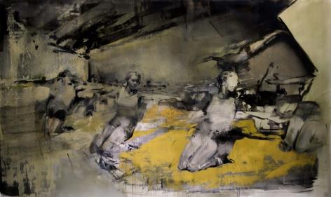 Zsolt Bodoni, Genuflect, 2013, Acrylic and oil on canvas, 200 x 335 cm
