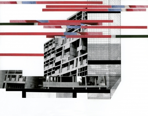 Seher Shah, Capitol Complex, Red Tower Bridge, 2012, Collage on paper, 28 x 36 cm
