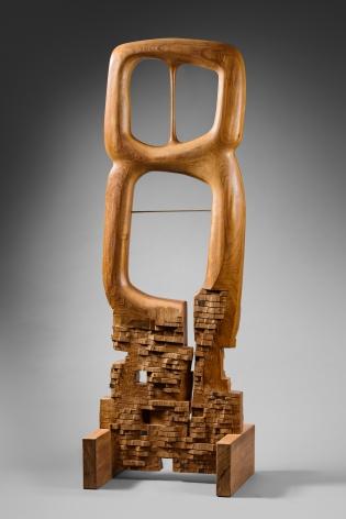 Chaouki Choukini, Lyrique, 2011, Iroko, 160 x 55 x 40 cm
