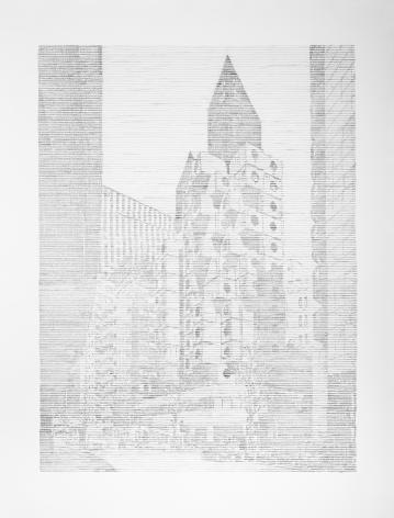 Seher Shah, SINGLE UTOPIAS(Nakagin I, Tokyo), 2017, Graphite on paper, 65 x 50 in