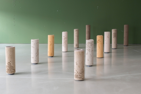Hera Büyüktaşçiyan, Foundations, 2019, Carpet and metal, composed of 12 pcs, Dimensions variable