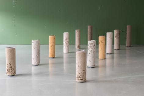 Hera Büyüktaşçiyan, Foundations, 2019, Carpet and metal, composed of 12 pcs, Dimensions variable