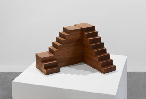 Ana Mazzei, Terrace, 2019, Peroba mica wood, wood stain paint, 25 x 42 x 34 cm