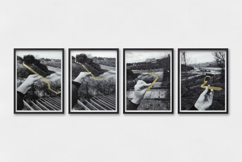 Hera Büyüktaşçıyan, Studies On Threads and Frequencies, 2019, Gold leaf on photographic paper, 21x 30cm (each)