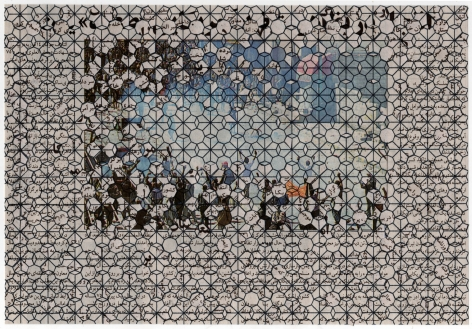 Nazgol Ansarinia, Reflections/Refractions, Death to America shouted in 7 provinces in Yemen. Explosion in Yemens Anti American Protests, 2012, Newspaper collage, 40 x 60 cm