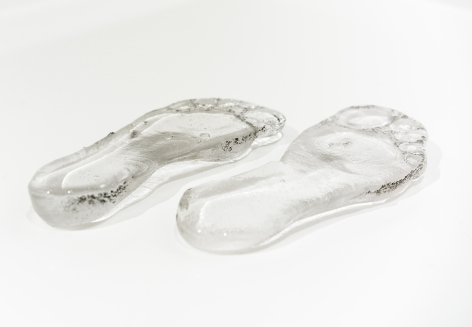 Afra Al Dhaheri, A version of a version of my feet, 2017, Poured sand cast glass, 6.5 US shoe size