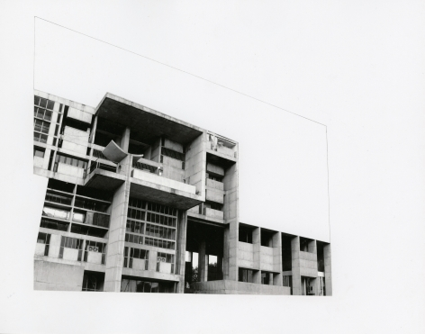Seher Shah, Capitol Complex, Secretariat Block, 2012, Collage on paper, 28 x 36 cm