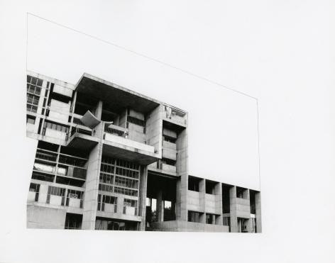 Seher Shah, Capitol Complex, Secretariat Block, 2012, Collage on paper, 28 x 36 cm