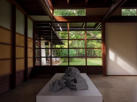 Nazgol Ansarinia,Ceramic Brick, Demolishing buildings, buying waste, 2017, Installation view atDEMO, MAK Center, Los Angeles, USA, 2020