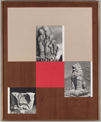 Kamrooz Aram, Untitled (from the series, Ancient Through Modern 29), 2016, Book pages, book cloth, and pencil on board with walnut frame, 91 x 67 cm