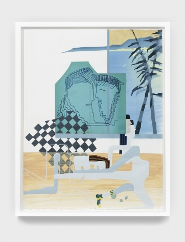 Maryam Hoseini, My Virgin and Strange Traveler (Horizon #11), 2016, Acrylic, ink and pencil on paper, 71x 56 cm