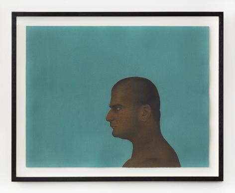 Ali Kazim, Untitled (Man of Faith series), 2019, Watercolour pigments on paper, 40 x 51.7 cm