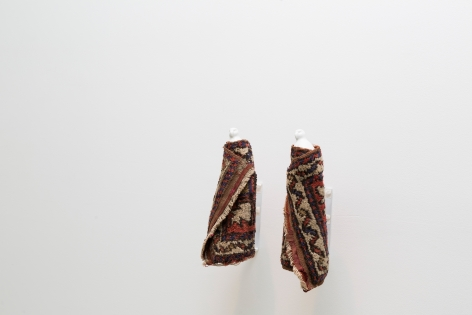 Hera Büyüktaşçiyan, The Observers, 2018, Found porcelain objects, found rugs and metal, 34 x 13 cm