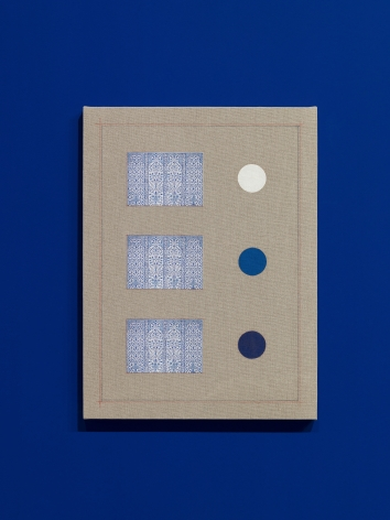 Kamrooz Aram, Ornamental Composition in Titanium, Cobalt and Lapis Lazuli, 2018, Oil, pencil and collage on linen, 61 x 45.7 x 2.5 cm