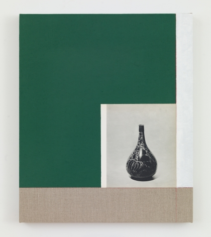 Kamrooz Aram, Andata (luster on Blue Gaze), 2021, Oil, pencil and book page on linen,60.96 x 50.8 cm