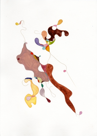 Afra Al Dhaheri, Abu Dhabi Hair Drawing 3, 2020, Hair and watercolor on paper, 30 x 21 cm
