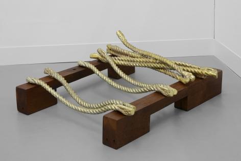 Hera Büyüktaşçıyan, Drawing the Line, Remembering the Rope,2019, Bronze, pine wood, Dimensions variable