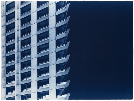 Seher Shah and Randhir Singh, Studies in Form, Barbican Estate (detail), 2018, Cyanotype prints on Arches Aquarelle paper, 56 x 76cm