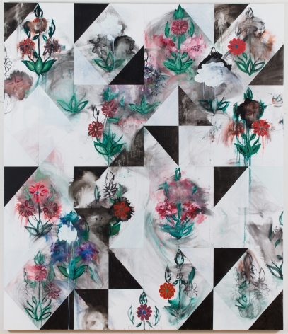 Kamrooz Aram, Untitled (Palimpsest), 2013, Oil, charcoal and oil crayon on canvas, 213 x 183 cm