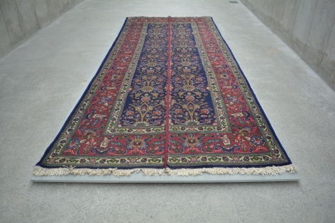 Nazgol Ansarinia, Mendings (Tabriz Carpet), 2011, Cotton and wool, 380 x 163 cm