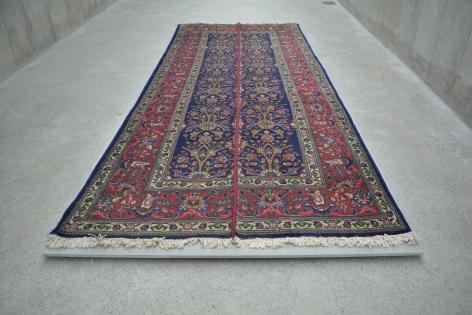 Nazgol Ansarinia,Mendings (Tabriz Carpet), 2011, Cotton and wool, 380 x 163 cm