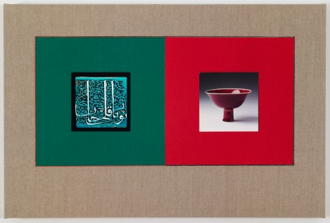 Kamrooz Aram,Untitled (from the series, Ancient Through Modern 26), 2016, Postcards and book cloth on linen mounted on panel, 51x 76cm
