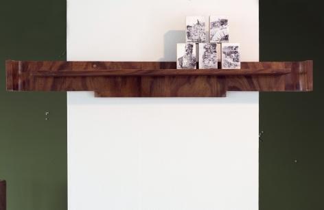 Hera Büyüktaşçiyan, Icons for Birds on Stones, 2018, Print and pencil on wood, piece of found wooden furniture