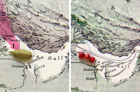 Alessandro Balteo-Yazbeck, Ian Gulf (map diptych) (detail), 2018, From the series All the Lands from Sunrise to Sunset