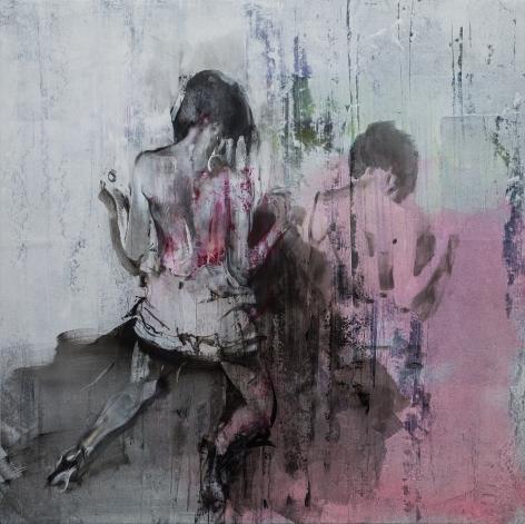Zsolt Bodoni, Untitled (bleach), 2014, Acrylic on canvas, 200 x 200 cm