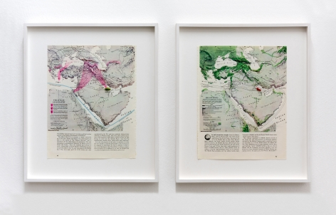 Alessandro Balteo-Yazbeck,Ian Gulf (map diptych), 2018, From the seriesAll the Lands from Sunrise to Sunset