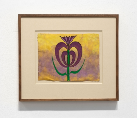 Anwar Jalal Shemza, Roots, c.1984, Acrylic on hand dyed cloth, 18.5 x 24.5 cm