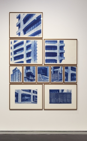 Seher Shah and Randhir Singh, Studies in Form, Dentsu Head Office, 2018, Cyanotype prints on Arches Aquarelle paper