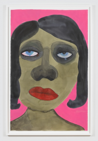 """Work on paper by February James titled """"The funny thing is"""" made in 2021 depicting a figure's face."""