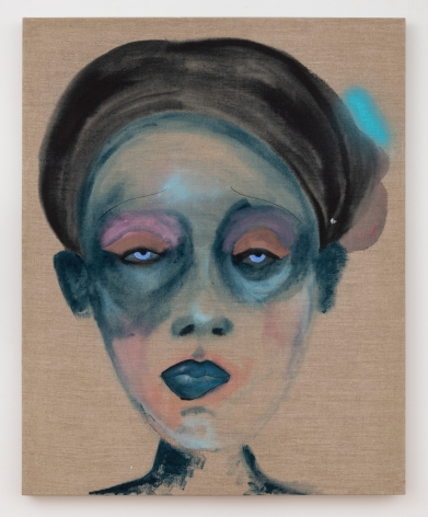 """February James, """"What Are the Words You Do Not Have Yet?"""", 2020, oil, oil pastel, watercolor and acrylic on linen, 40 inches by 32 inches (102 centimeters by 81 centimeters). Painting by the artist February James."""