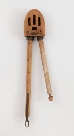 "John Outterbridge, ""Good News"", 1993, mixed media, 47 x 8 1/2 x 7 inches (119 x 22 x 18 cm). A hanging sculpture by John Outterbridge."