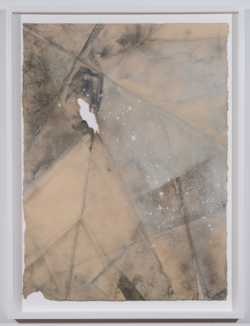 """Martha Tuttle, """"Rupture Drawing (1)"""", 2015 Indigo, clay, and iron on paper, 30 by 22 inches, 33 1/4 by 25 3/4 inches (Framed)"""
